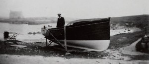 J. Brown with the dinghy 'Spindrift' at Scarinish  harbour